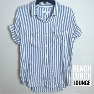 EUC beachlunchlounge Button Down Top Striped Med